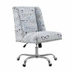 Saltoro Sherpi Fabric Upholstered Office Chair With Glasses Print Gray And