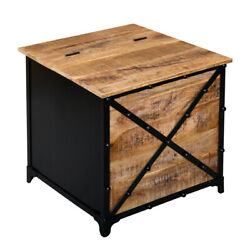 24 Inch Rustic Mango Wood Trunk Storage Side End Table With Hinged Top,brown And
