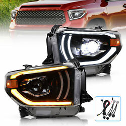 Led Projector Headlights Dual Beam For Toyota Tundra 2014-2018 Halo Lens Pair