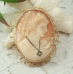 Vintage 48mm 14k Yellow Gold Shell Cameo With Diamond Pin Brooch Pendant 17.3 G