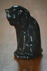 Frankoma Seated Panther Cat Pottery Figurine In Glossy Black 114