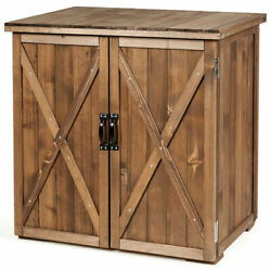 Gymax 2.5 X 2 Ft Outdoor Wooden Storage Shed Cabinet W/ Double Doors For Garden