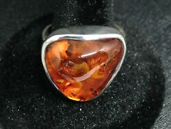 925 Sterling Silver Baltic Amber Adjustable Ring Ref 750