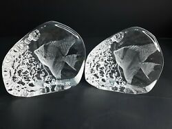 2 Signed Mats Jonasson Full Lead Crystal Angel Fish Figurines Paperweight Sweden