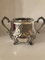 Antique Hand Chased Rare Sterling Silver Large Sugar And Milk/cream Jug Set