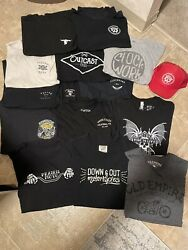 Huge Lot Of 14 Motorcycle T-shirts And Hat Large L Great Deal Cycle Zombies