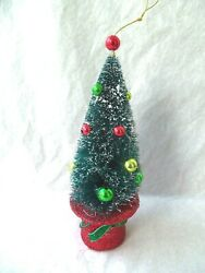 Bottle Brush Christmas Tree Decorated 7 1/2 Tall Frosted Top Hat Glitter