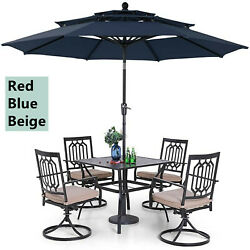 Patio Dining Set 6 Piece Outdoor Swivel Rocking Chairs Metal Table 10ft Umbrella