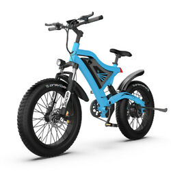 26''electric Bicycle 500w Motor Fat Tire With 48v/15ah Li-battery S18-mini-blue
