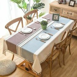 Plaid Pattern Linen Tablecloth With Tassel Waterproof Oilproof Thick Table Cover
