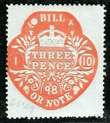 Gb Qv Revenue Stamp Essay 3d Red/blued Bill Or Note 1898 Mint Mm Gwhite28