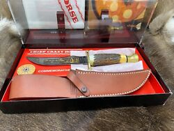 Case Xx Chief Crazy Horse Stag Kodiak Knife And Leather Sheath - Display Case