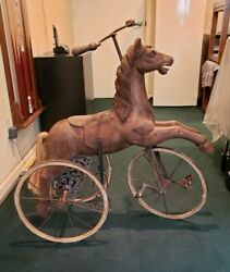 Victorian Pedal Horse Tricycle Wood And Wrought Iron Leather Saddle