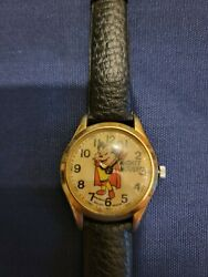 Vintage Mighty Mouse Swiss Made Watch With Black Leather Band