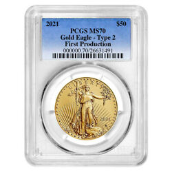 2021 50 Type 2 American Gold Eagle 1 Oz Pcgs Ms70 First Production Blue Label