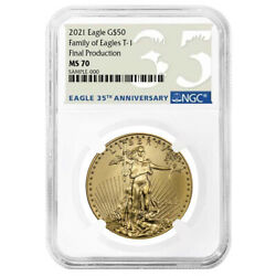 2021 50 Type 1 American Gold Eagle Ngc Ms70 1 Oz Final Production 35th Annivers