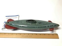 1940's Vintage Wolverine Usa Wind Up Tin Lithograph Toy Submarine Gray/red Rare