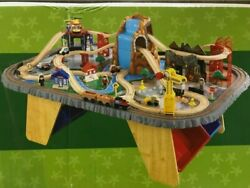 Used Kidkraft Waterfall Junction Train Set And Table, Dimensions 40.25l X 34.25w