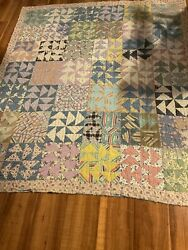 Vintage Handmade Feed Sack Bag Quilt 69andrdquo X 79andrdquo Triangle Patchwork Applique