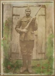 Antique Black / African American Wwi Soldier Photograph Portrait Hand Colored
