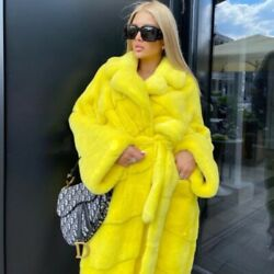 Luxury Womenand039s Genuine Mink Fur X-long Coats Whole Skin Real Fur Outerwear Gifts