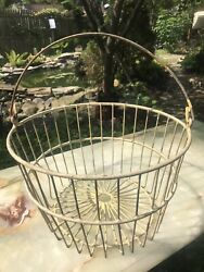 Antique Vintage Keenco Farmhouse Egg Basket Wire Yellow Coated Metal 14andrdquo