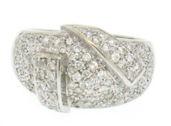 14k White Gold Wide 1.50ctw Pave Diamond Domed Wrap-around Band Dinner Ring