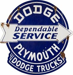 Dodge Plymouth Dependable Service 16 Heavy Duty Usa Made Metal Advertising Sign