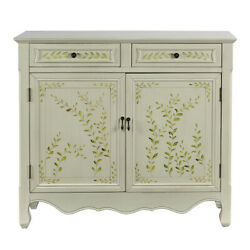 Saltoro Sherpi Wooden Hand Painted Console Table With 2 Doors And 2 Drawers,