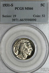1931-s Buffalo Or Indian Head Nickel Lightly Toned Pcgs Graded Ms66 5598890