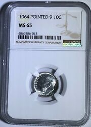 1964 P Ngc Ms65 Silver Roosevelt Dime Pointed 9 10c 90 Silver