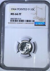 1964 P Ngc Ms66 Ft Silver Roosevelt Dime Pointed 9 10c 90 Silver Full Torch
