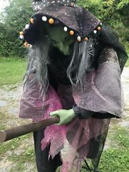 Life Size 6ft Gemmy Animatronic Animated Witch On Broom Halloween Prop