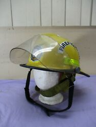 Vintage Bell Active Fire Fighter Fireman Helmet W/ Muff's And Shield Yellow Fh3000