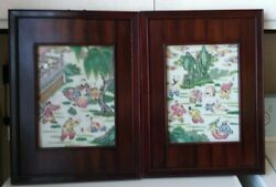 China Antique Porcelain Board Painting - Baby Play Picture Pair 晚清瓷板画-婴戏图 瓷 画