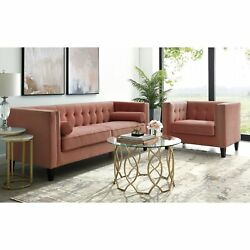 Pax Velvet Club Chair Or Sofa - Button Tufted   Tapered Legs   Square Arms  