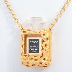 Necklace Gold Plated Gold Perfume Bottle