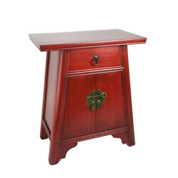 Saltoro Sherpi Wooden Cabinet With Two Doors And One Drawer, Red