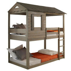 Saltoro Sherpi Twin Size Wooden Bunk Bed With House Design Brown