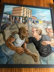 John Johnstone Original Painting And039and039peter Howson Faces One Of His People Rare