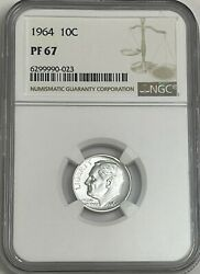 1964 Ngc Pf67 90 Silver Roosevelt Dime 10c Great Eye Appeal Uncirculated