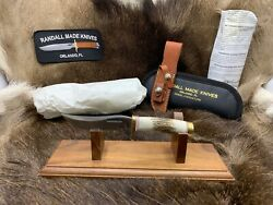 Randall Model 3 Miniature Knife With Stag Handles And Leather Sheath Pouch Mint A
