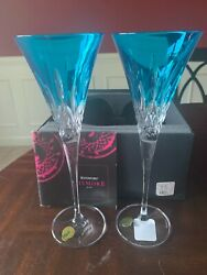 Waterford Crystal Lismore Pops Aqua Toasting Flutes/new In Box