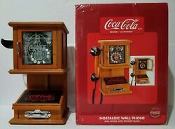 New Rare Coca-cola Nostalgic Wall Phone Real Wood Frosted Glass Hanging Retro