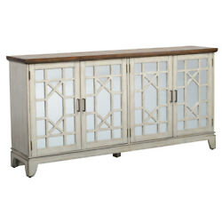 Saltoro Sherpi Wooden 4 Doors Sideboard With Mirror Inserts, White And Brown