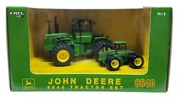 John Deere 8640 4wd Tractor Set 2008 Plow City Toy Show By Ertl 1/32 And 1/64