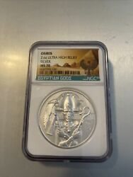 Egyptian Gods Osirus 2 Ounce Silver Ultra High Relief Ngc Perfect Mint State 70.