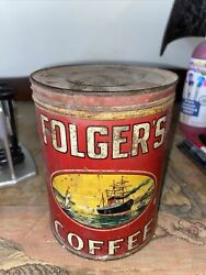 Vtg Folgers Coffee Tin Can 2 Lb Pound 1931 Clipper Ship Flowers Golden Gate