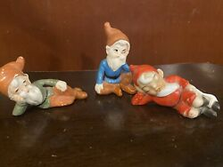 Set Of 3 Funny Vintage Pixie Elves With Long Beards Gnomes