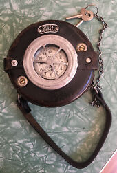 Vintage Detex Newman Watchman Clock With Leather Case And Keys Free Us Shipping